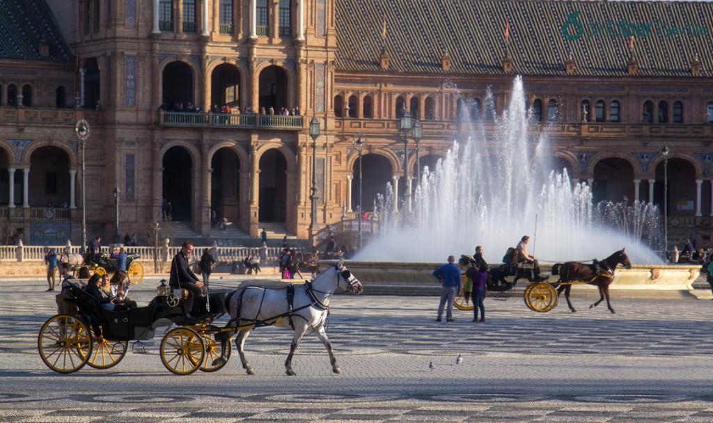 Horse ride in Plaza de España Seville